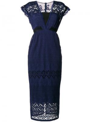 Платье с рукавами-кап Dusck Three Floor. Цвет: синий