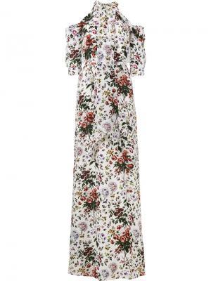 Вечернее платье с цветочным принтом Annaliese Erdem. Цвет: белый
