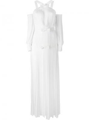 Вечернее платье с открытыми плечами Alessandra Rich. Цвет: белый