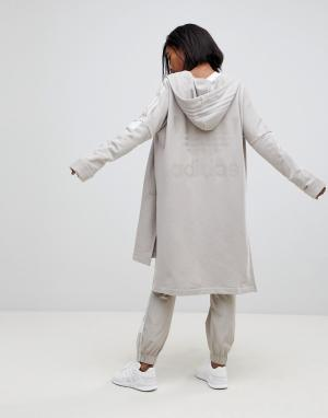Adidas Originals Длинный худи бежевого цвета на молнии Adibreak. Цвет: коричневый