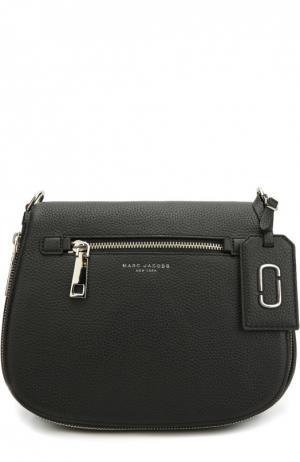Кожаная сумка Gotham с текстильным ремнем Marc Jacobs. Цвет: черный