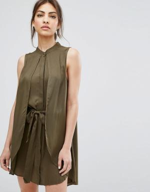 Urban Bliss Платье с поясом Ash. Цвет: зеленый
