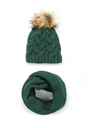 Комплект шапка и снуд Fete. Цвет: зеленый