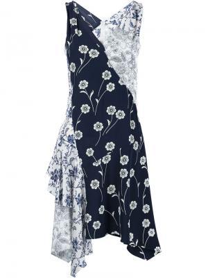 Асимметричное платье с цветочным принтом Derek Lam 10 Crosby. Цвет: синий