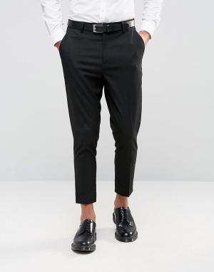 ASOS Черные укороченные брюки зауженного кроя. Цвет: черный