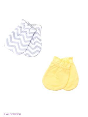 Антицарапки, 2 пары Luvable Friends. Цвет: серый, желтый