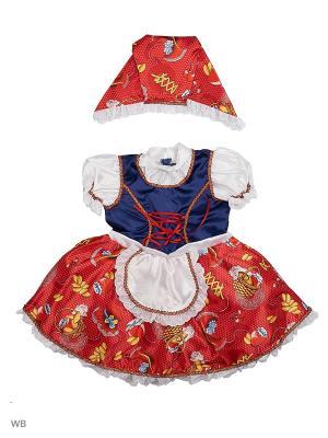 Карнавальный костюм Красная шапочка сказочная Батик. Цвет: синий, белый, красный
