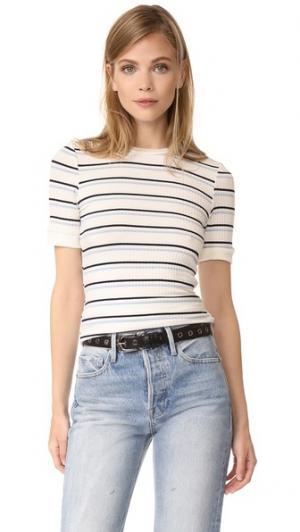 Облегающая футболка с двойными полосками 70s FRAME. Цвет: кремовый мульти