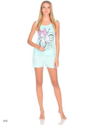Пижама (Майка,Шорты) Magwear. Цвет: бирюзовый
