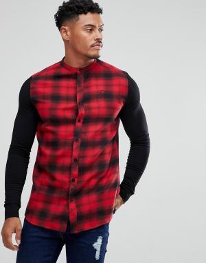 SikSilk Облегающая рубашка в клетку с трикотажными рукавами. Цвет: красный
