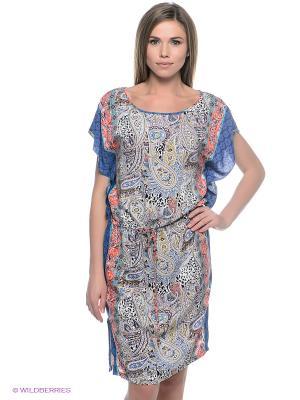 Платье SELA. Цвет: синий, коралловый