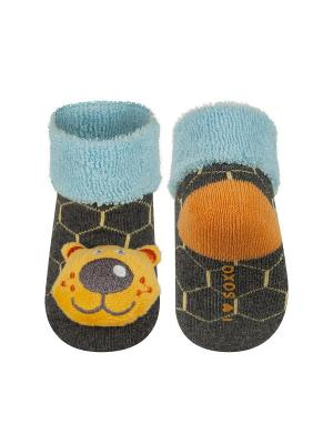 Носки детские с игрушкой Soxo. Цвет: темно-серый
