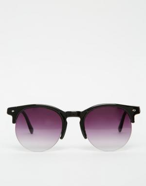 7X Круглые солнцезащитные очки в полуоправе. Цвет: черный