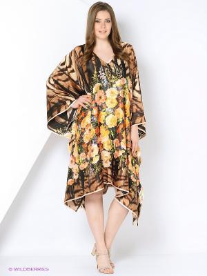 Платье - туника LIZA MACCONY. Цвет: светло-бежевый, коричневый
