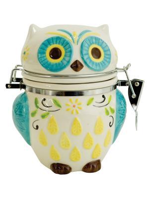 Банка для сыпучих продуктов Floral Owl BOSTON. Цвет: серо-зеленый, кремовый