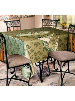 Скатерть и салфетки 220-150-6 GrandStyle. Цвет: оливковый