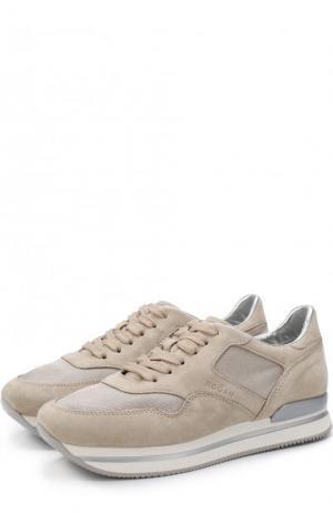 Комбинированные кроссовки на шнуровке Hogan. Цвет: бежевый