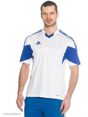 Футболка Adidas. Цвет: белый, синий