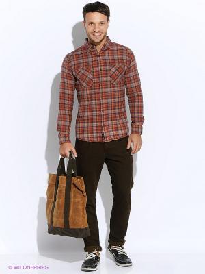 Рубашка Mavango. Цвет: коричневый, оранжевый