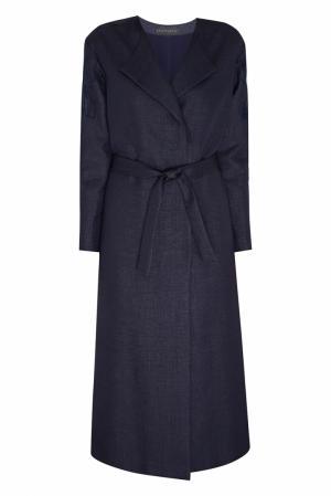 Пальто из льна и шелка NATALIA GART. Цвет: синий