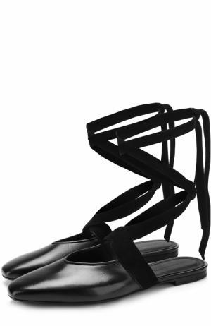 Кожаные балетки на лентах J.W. Anderson. Цвет: черный