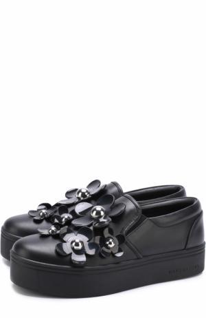 Кожаные слипоны с цветочной аппликацией Marc Jacobs. Цвет: черный
