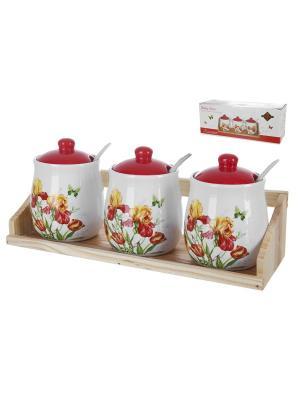 Набор банок для сыпучих продуктов Касатик, Polystar. Цвет: красный