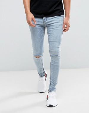 Sixth June Обтягивающие джинсы с дырками на коленях. Цвет: синий
