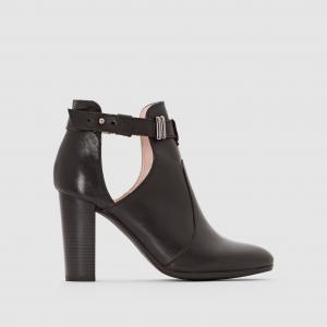 Ботильоны кожаные на каблуке MADEMOISELLE R. Цвет: черный