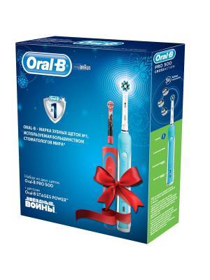 Электрическая зубная щётка Pro 500 + Vitality Star Wars в подарочной упаковке Oral-B. Цвет: голубой, белый, красный