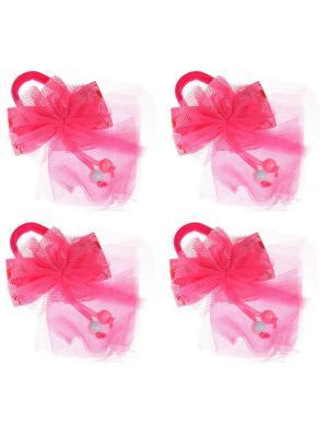 Бантики для волос на длинных резинках бантик с вишенками, набор 2 по шт, розовые Радужки. Цвет: розовый
