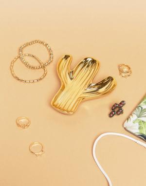 Sass & Belle Золотистая подставка под украшения в форме кактуса. Цвет: мульти