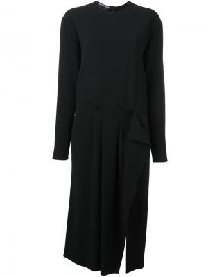 Платье миди с длинными рукавами Rochas. Цвет: чёрный