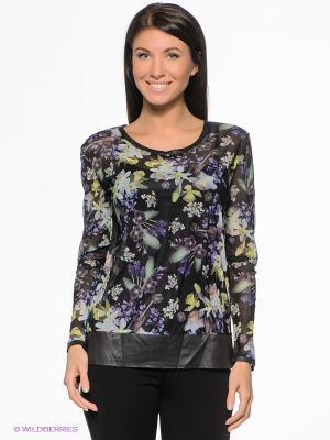 Блузка PELICAN. Цвет: черный, зеленый, фиолетовый