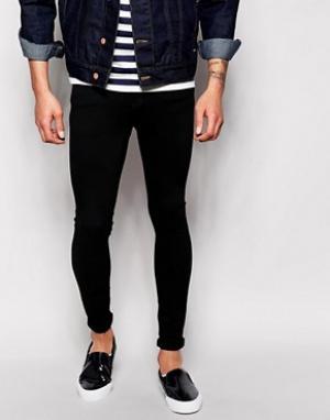 Dr Denim Черные супероблегающие джинсы Dixy Low Spray On Extreme. Цвет: черный