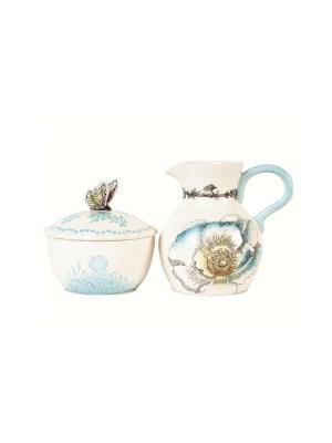 Набор для специй Летняя лужайка Elff Ceramics. Цвет: белый, сиреневый, розовый
