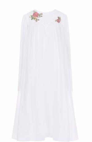 Хлопковое платье свободного кроя с вышивкой бисером Natasha Zinko. Цвет: белый