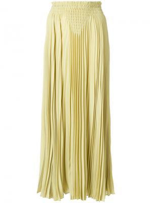 Плиссированная юбка-макси Valentino. Цвет: жёлтый и оранжевый