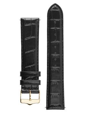 Классический ремешок для часов из кожи теленка с фактурой под аллигатора. Ширина от 18 до 20 мм Signature. Цвет: черный