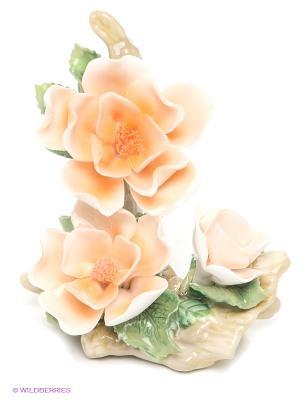 Композиция Чайная Роза 9см (Pavone) Pavone. Цвет: персиковый, зеленый, бежевый