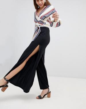 New Look Расклешенные брюки в рубчик. Цвет: черный