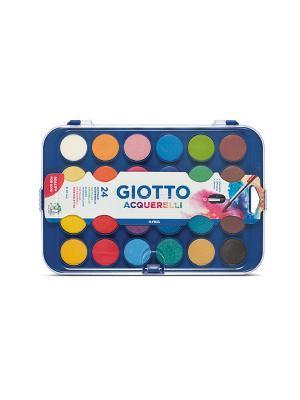 Giotto acquarelli 30mm  сухая акварель в таблетках 24 цвета. FILA. Цвет: белый, желтый, синий