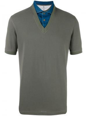 Рубашка-поло с джинсовым воротником Brunello Cucinelli. Цвет: зелёный