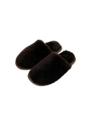 Тапочки из натуральной овчины Тефия. Цвет: коричневый