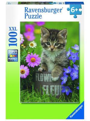 Пазл Котёнок и цветы XXL 100 шт Ravensburger. Цвет: зеленый