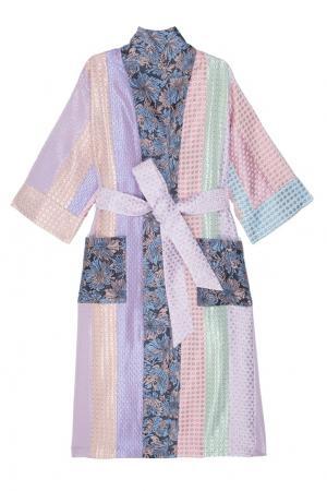 Платье-халат с принтом Natasha Zinko. Цвет: салатовый, сиреневый, розовый