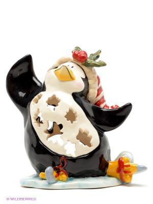 Подсвечник Пингвин в танце на льду Blue Sky. Цвет: молочный, черный, красный