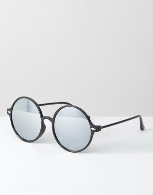 7X Круглые солнцезащитные очки с зеркальными линзами. Цвет: черный