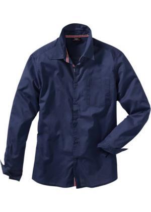 Рубашка с длинным рукавом, стандартный покрой (темно-синий) bonprix. Цвет: темно-синий