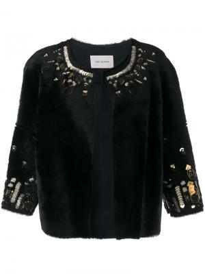 Декорированная куртка из овчины Yves Salomon. Цвет: чёрный
